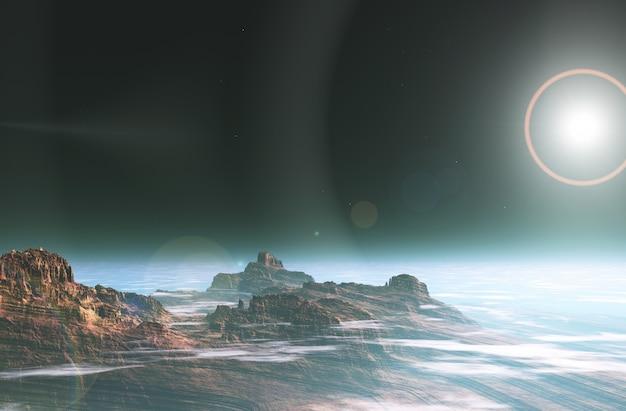 Paesaggio spaziale surreale 3d