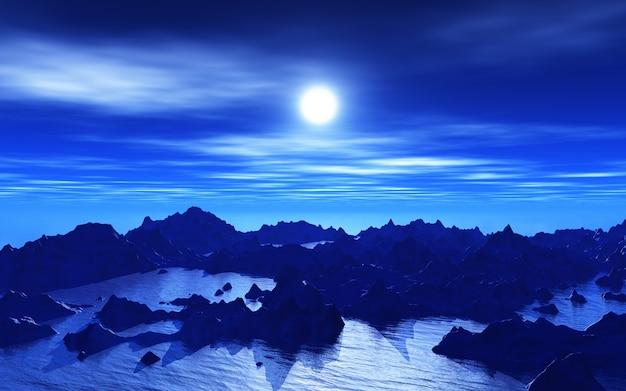 Paesaggio straniero 3d di notte