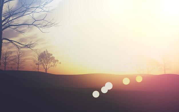 Paesaggio sveglio con il sunbursts