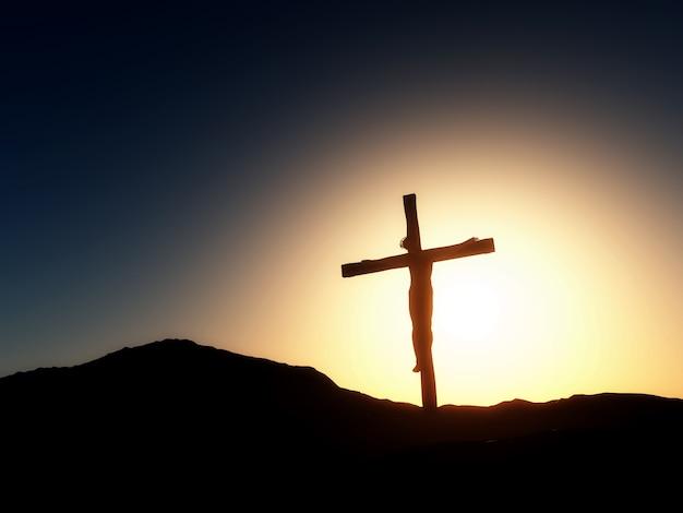 Paesaggio tramonto del venerdì santo