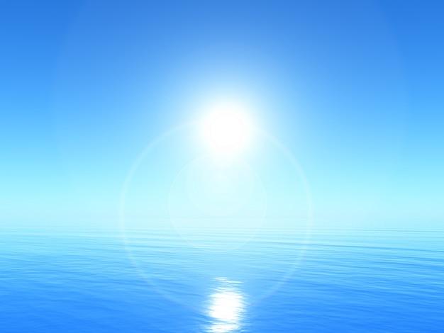 Paesaggio tranquillo dell'oceano 3d con cielo blu luminoso