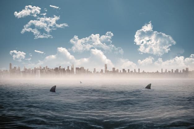 Paesaggio urbano all'orizzonte sopra il mare infestato dagli squali