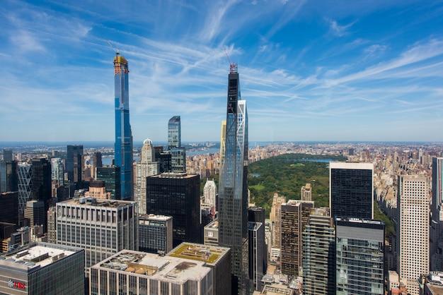Paesaggio urbano di new york city e central park