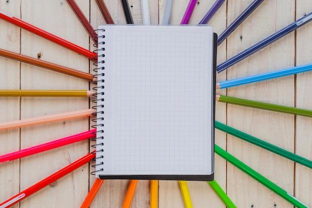 Pagina del blocco note e matite