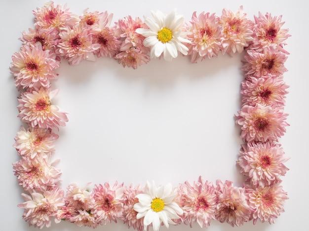 Pagina fatta dei fiori dentellare e bianchi su priorità bassa bianca