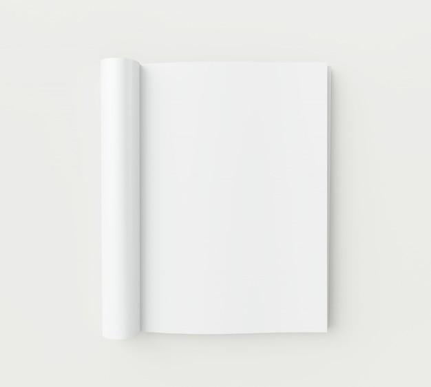 Pagine di una rivista in bianco su sfondo bianco.