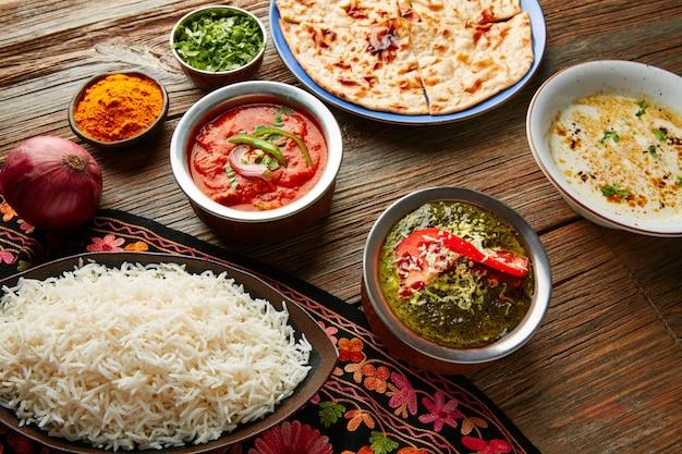 Palak panner e pollo tikka masala indiano