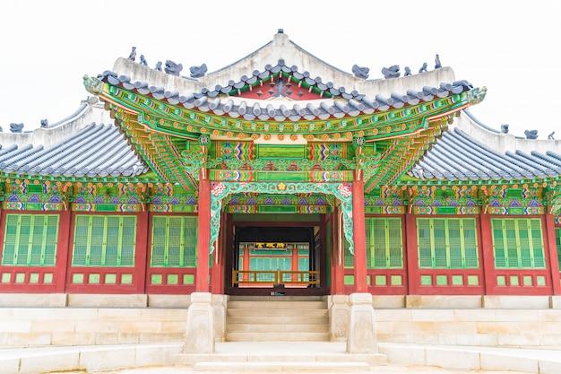 Palazzo di changdeokgung bella architettura tradizionale a seoul, corea