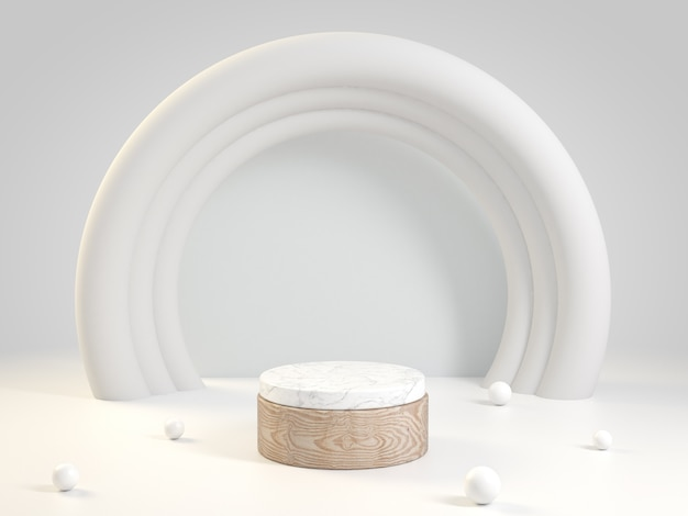 Palco in legno e marmo con anello bianco, rendering 3d.
