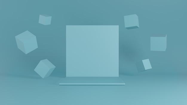 Palco sullo sfondo blu con decorazione scatola in camera con parete blu. rendering 3d