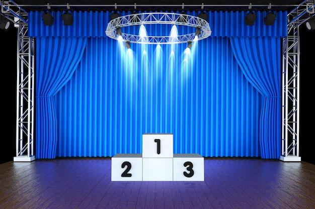 Palcoscenico e tende e riflettori blu con podio sportivo