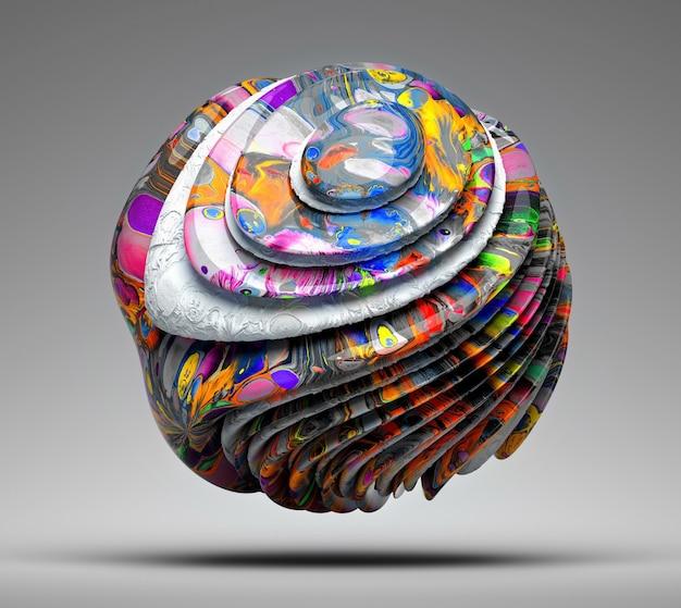 Palla 3d in linee curve con parti in acrilico di colore estremamente brillante