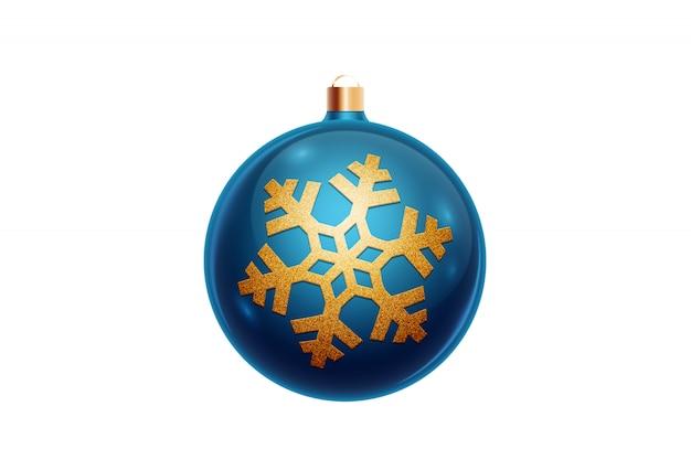 Palla blu di natale isolata su fondo bianco. decorazioni natalizie, ornamenti sull'albero di natale.