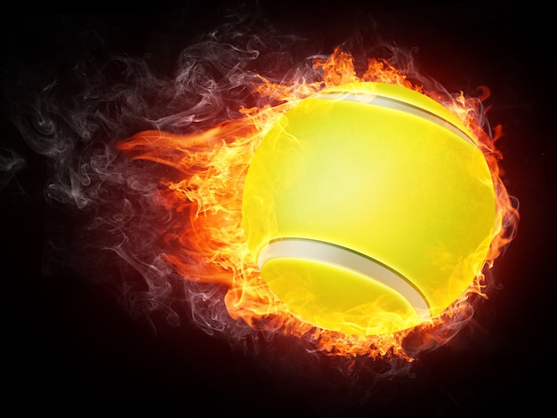 Palla da tennis in fiamme