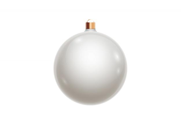 Palla di natale bianco isolata su fondo bianco. decorazioni natalizie, ornamenti sull'albero di natale.