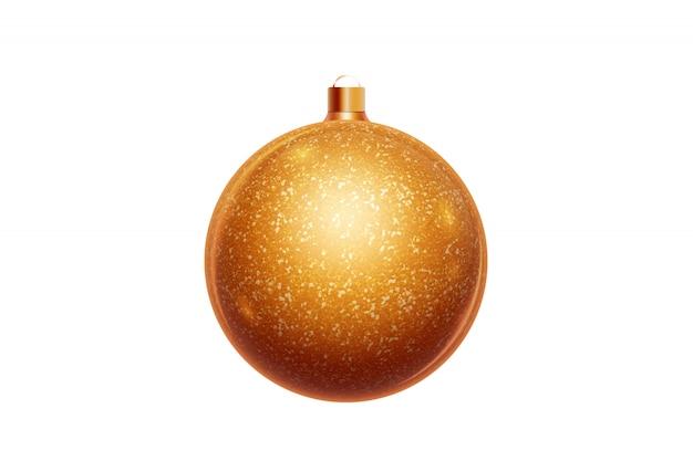 Palla dorata di natale isolata su fondo bianco. decorazioni natalizie, ornamenti sull'albero di natale.