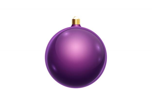 Palla porpora di natale isolata su fondo bianco. decorazioni natalizie, ornamenti sull'albero di natale.