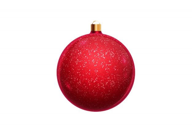 Palla rossa di natale isolata su fondo bianco. decorazioni natalizie, ornamenti sull'albero di natale.
