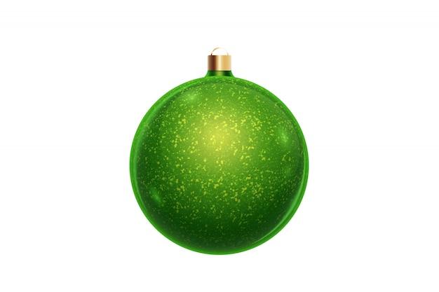Palla verde di natale isolata su fondo bianco. decorazioni natalizie, ornamenti sull'albero di natale.