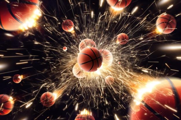 Pallacanestro. palle da basket con fuoco scintille in azione. nero isolato