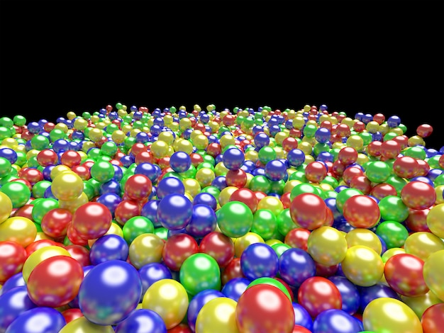 Palle di colore sfondo di colori vivaci, rendering 3d