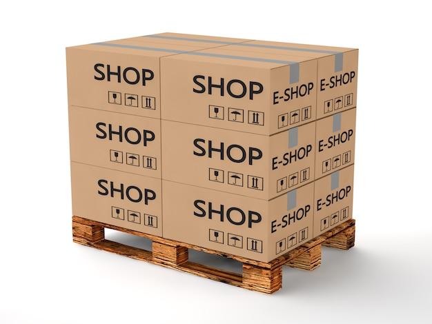 Pallet con scatole di cartone