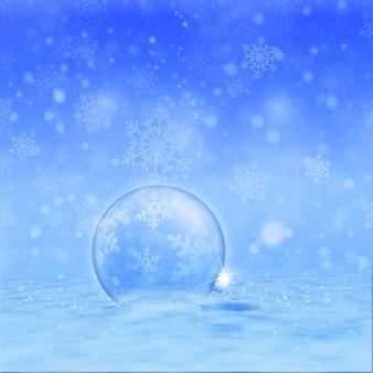 Pallina di natale nella neve