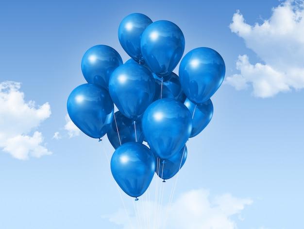 Palloncini blu su un cielo blu