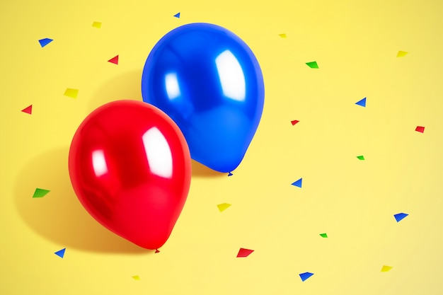 Palloncini colorati con sfondo di coriandoli