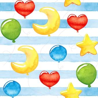 Palloncini colorati dell'acquerello del bambino sveglio