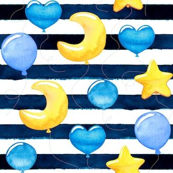 Palloncini colorati dell'acquerello del neonato sveglio