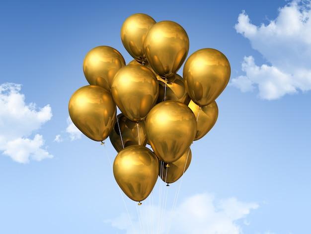 Palloncini d'oro su un cielo blu