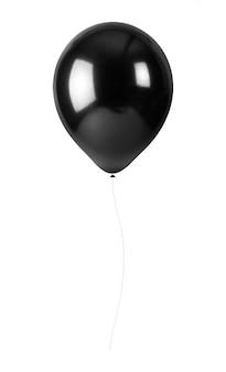 Palloncini neri con corda isolato su sfondo bianco