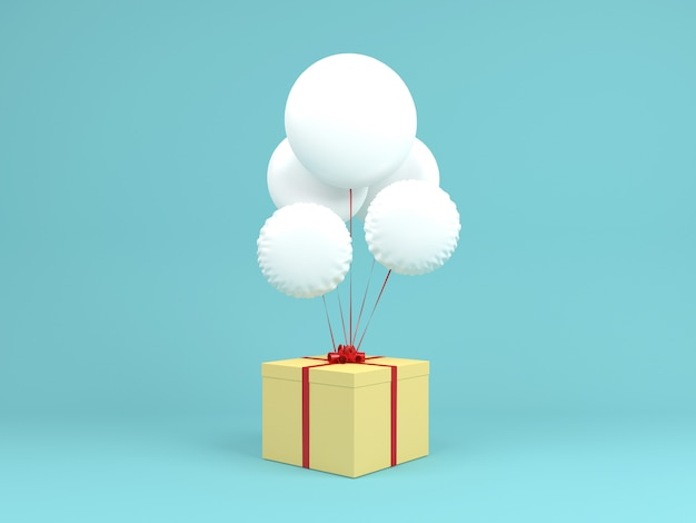 Palloncino bianco con scatola regalo giallo su sfondo blu pastello