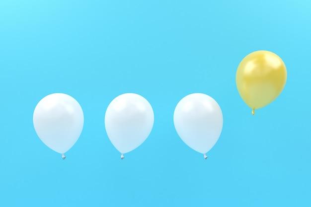 Palloncino bianco e giallo a contrasto vola in aria color pastello