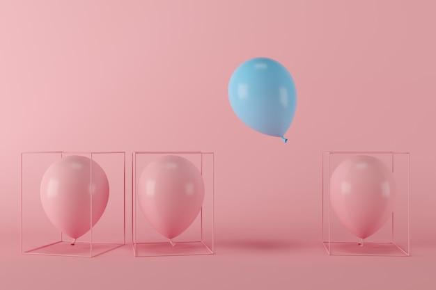 Palloncino blu di libertà minima di concetto che galleggia con i palloni rosa in gabbia rosa su fondo rosso