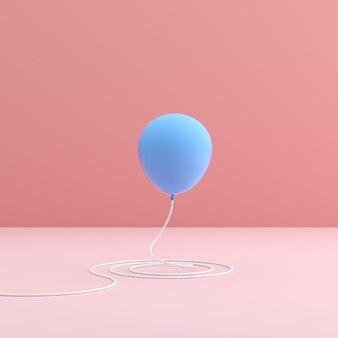 Palloncino blu su spazio rosa in stile minimal.