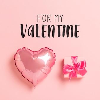 Palloncino rosa a forma di cuore confezione regalo rosa con nastro rosa