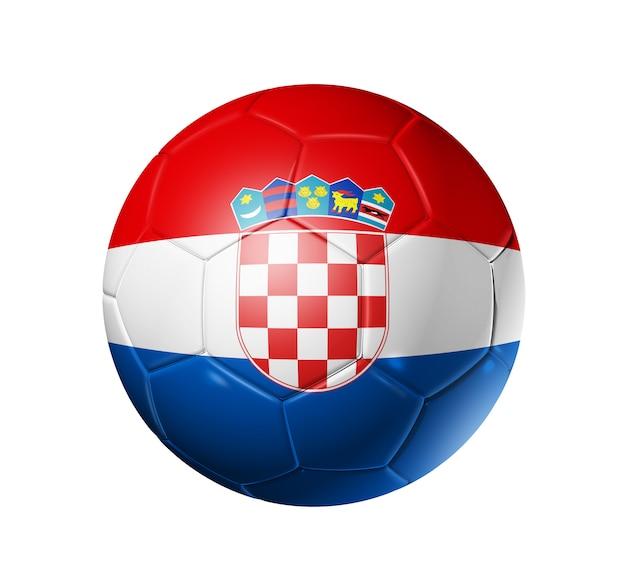 Pallone da calcio 3d con bandiera della squadra della croazia.
