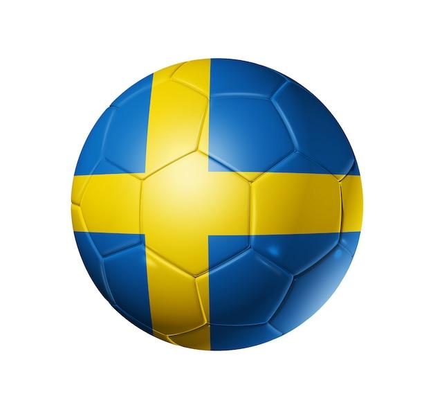 Pallone da calcio 3d con bandiera della squadra della svezia. isolato