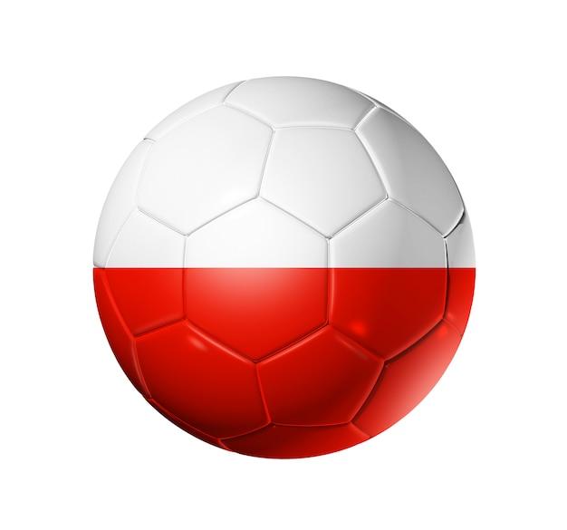 Pallone da calcio 3d con bandiera della squadra di polonia. isolato