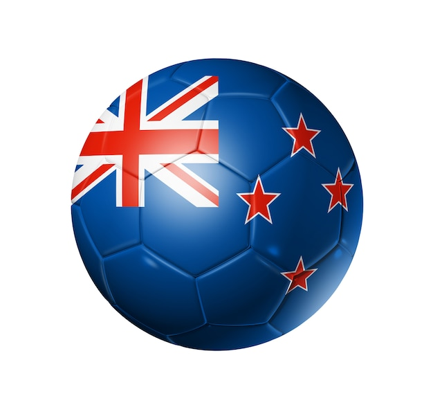 Pallone da calcio 3d con bandiera della squadra nuova zelanda, coppa del mondo di calcio. isolato