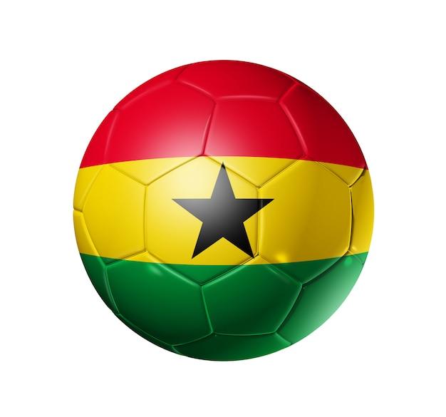 Pallone da calcio 3d con bandiera squadra ghana, coppa del mondo di calcio. isolato