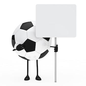 Pallone da calcio che mostra un cartello bianco