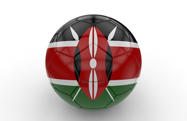 Pallone da calcio con bandiera del kenya