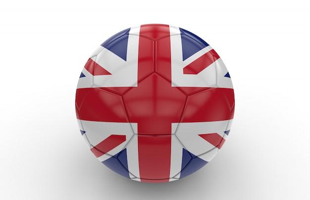Pallone da calcio con bandiera del regno unito
