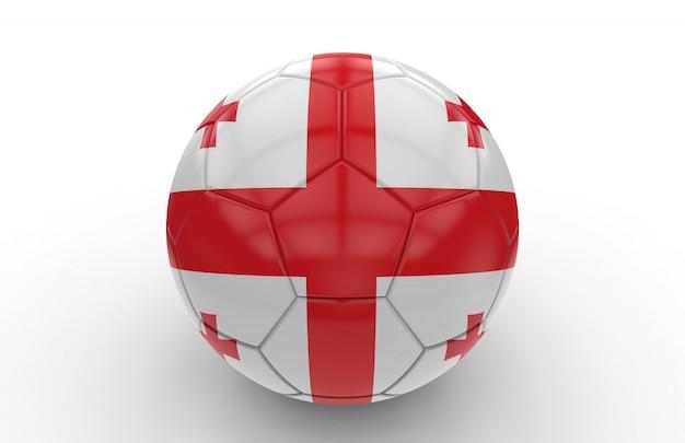 Pallone da calcio con bandiera georgia; rendering 3d