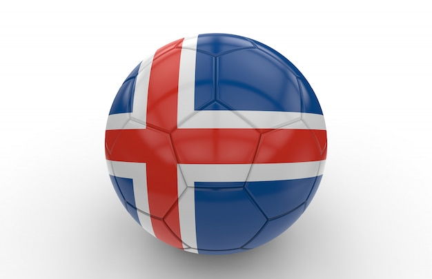 Pallone da calcio con bandiera islandese