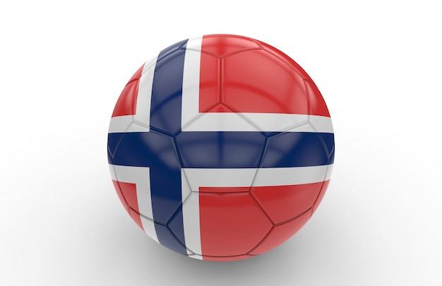 Pallone da calcio con bandiera norvegese