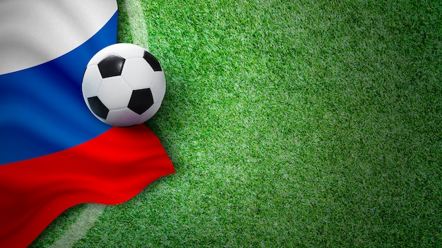 Pallone da calcio e bandiera della russia su erba verde in stadio con lo spazio della copia